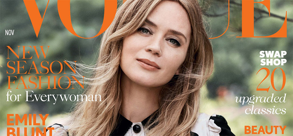 "Emily Blunt covers Vogue UK November ""The Real Issue"""